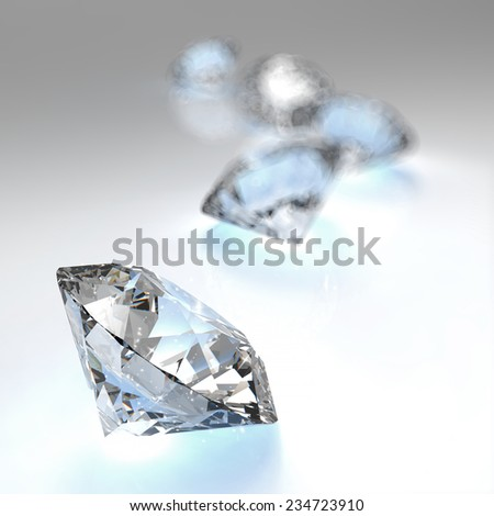 Diamonds 3d composition on white background  - stock photo