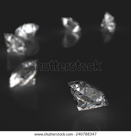 Diamonds 3d in composition as concept