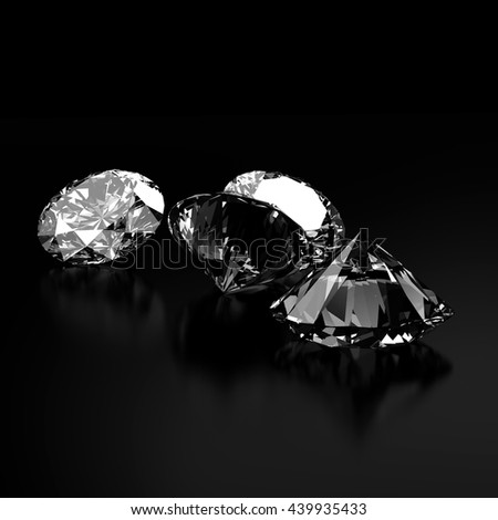 Diamonds jewelry isolated on black background 3d rendering.