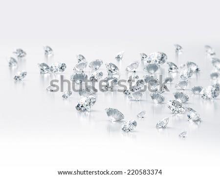 Diamonds large group high detail - stock photo