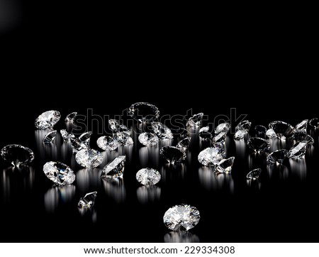 Diamonds on black background.  - stock photo
