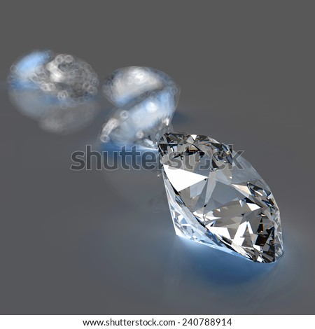Diamonds on grey background 3d model
