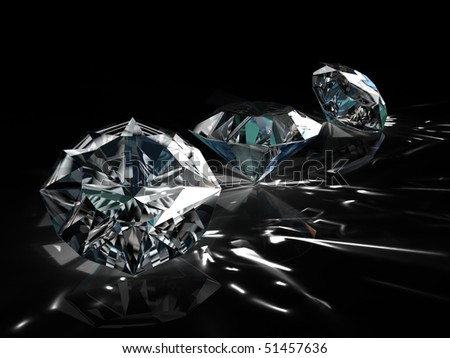 diamonds - one shape different angle isolated on black background