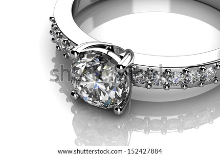 Diamonds ring on white gold body shape the most luxurious - stock photo