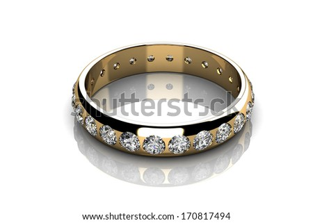 Diamonds ring on yellow gold body shape the most luxurious