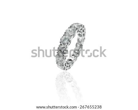 Diamonds Wedding Eternity Band Ring in Platinum - stock photo