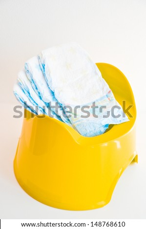 diapers in a potty - stock photo