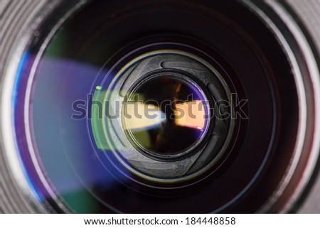diaphragm of a camera lens aperture - stock photo