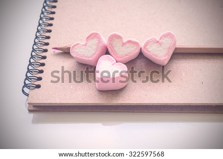 Diary book of love, decoration for love and valentine day concept -  vintage style - stock photo