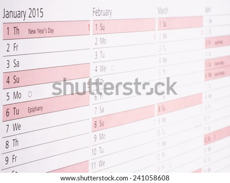 Diary 2015 Focus on January with small Depth of Field - stock photo