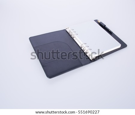diary or open leather notebook on the background