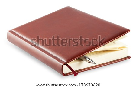 Diary with mortgaged pen isolated on white background - stock photo
