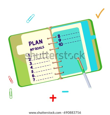 Diary New Plan Blank List Isolated Stock Illustration 690883756 ...