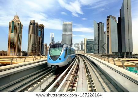 Dibai. Metro and skyscrapers - stock photo