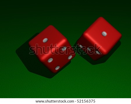 Dice about to land on snake eyes (3d illustration) - stock photo