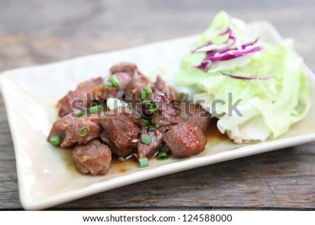 dice beef steak japanese style - stock photo