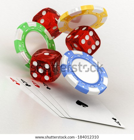 dice, chips and cards on a white background - stock photo