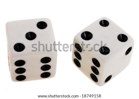dice close up on a white background