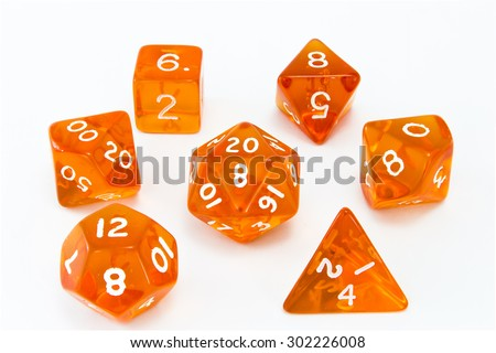 Dice composition orange - stock photo