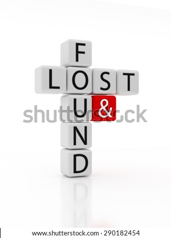 Dice containing the text lost and found crossed like a puzzle. Isolated on a white background. 3D Illustration