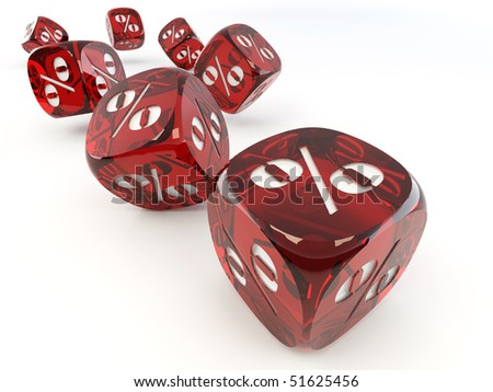 Dice. Cube with percent. 3d - stock photo