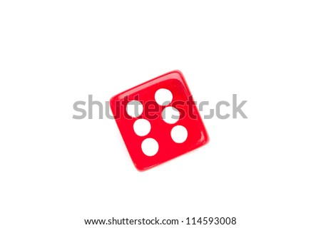 Dice designating a number six against a white background - stock photo