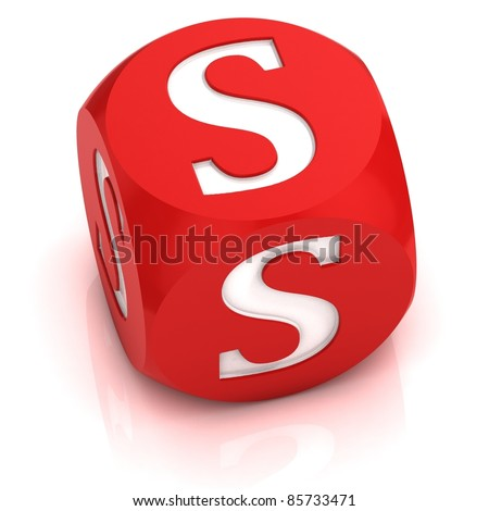 dice font letter S - stock photo