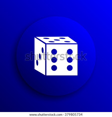 Dice icon. Internet button on blue background. - stock photo