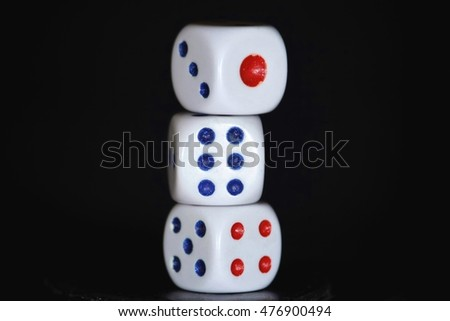 Dice in black background