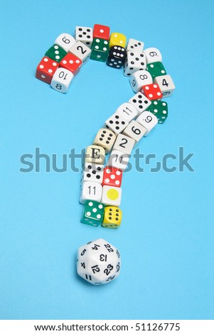 Dice in Question Mark Shape on Blue Background - stock photo
