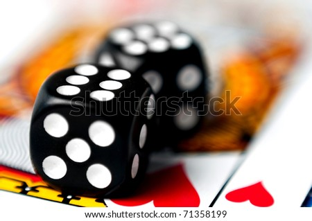 dice on a card - stock photo