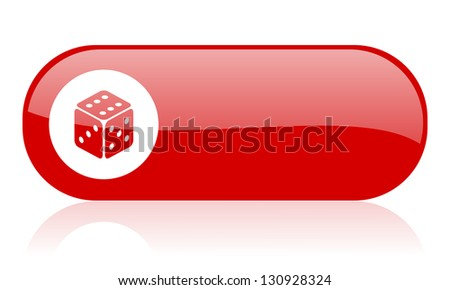 dice red web glossy icon - stock photo