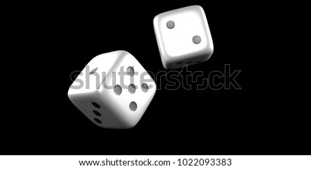 Dice throw mid air on a black background. 3D Rendering
