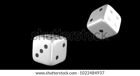 Dice throw mid air with a black background. 3D Rendering