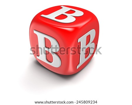 Dice with letter B (clipping path included) - stock photo