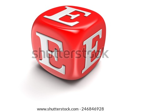Dice with letter E (clipping path included) - stock photo