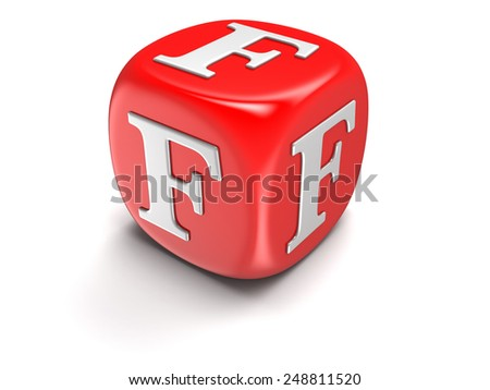 Dice with letter F (clipping path included) - stock photo
