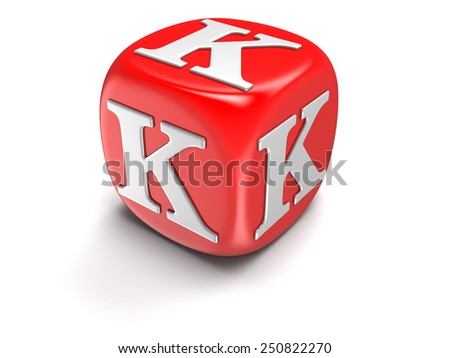 Dice with letter K (clipping path included) - stock photo