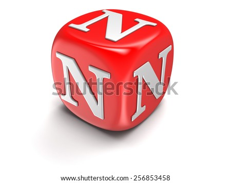 Dice with letter N (clipping path included) - stock photo