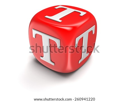 Dice with letter T (clipping path included) - stock photo