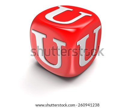 Dice with letter U (clipping path included) - stock photo