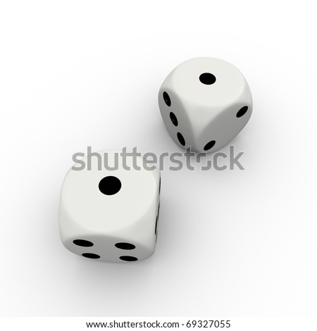 Dice with number one and one