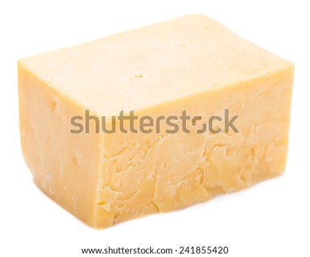Diced Cheddar isolated on pure white background (close-up shot) - stock photo