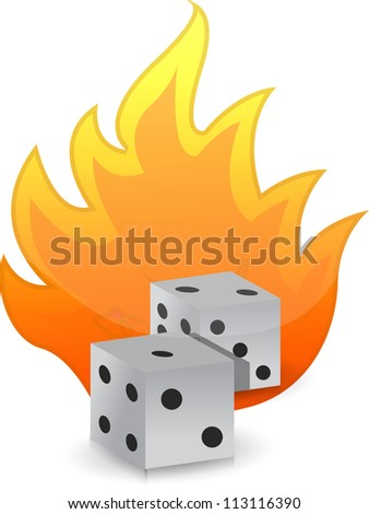 Dices on fire illustration design over white background - stock photo
