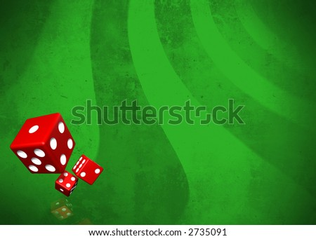 Dices on green grunge background with faded reflection with plenty of copy space