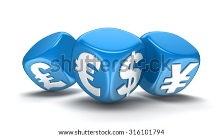 Dices with currencies (clipping path included)