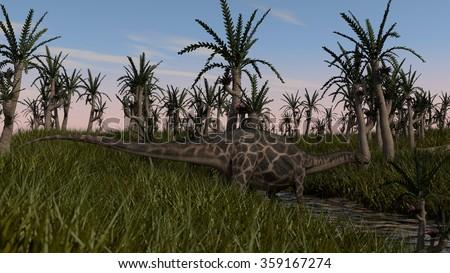 dicraeosaurus in prehistoric landscape  - stock photo