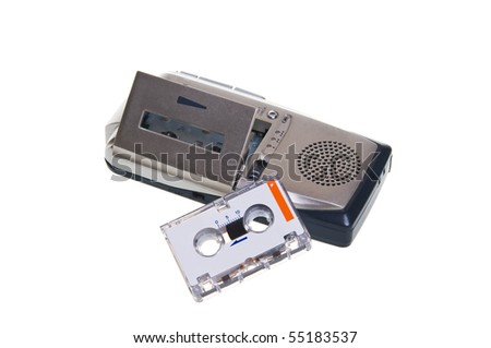 Dictaphone are on a white background - stock photo
