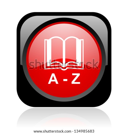 dictionary black and red square web glossy icon