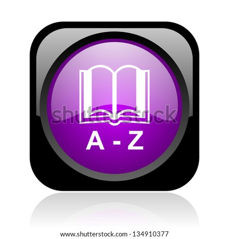 dictionary black and violet square web glossy icon